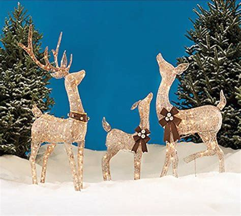 outdoor lighted deer family reindeer family 3 set includes glittering gold buck doe and baby deer patio