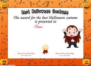 Halloween Costume Certificate Template Best Halloween Costume