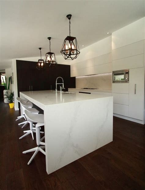 modern kitchen island bench modern kitchen with large island bench in calacatta