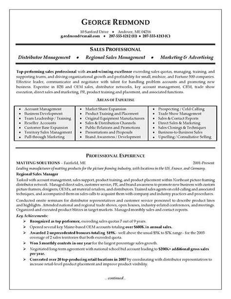 Resume Sles For Area Sales Manager Regional Sales Resume Exle