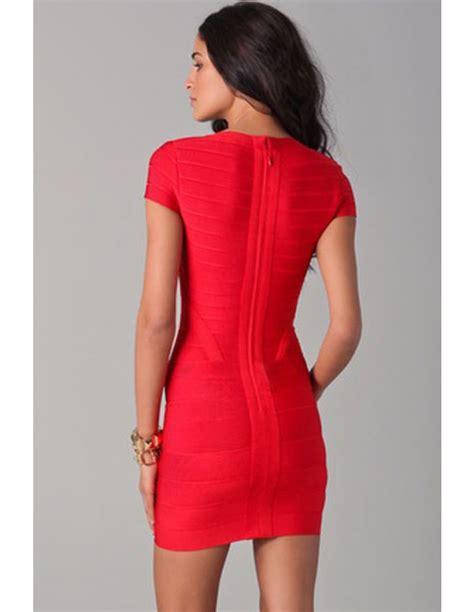 vestidos de manga corta vestido rojo de manga corta bandage vb065