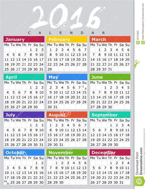 Kalender Englisch Englisch 2016 Kalendar B Stock Abbildung Bild 60155822