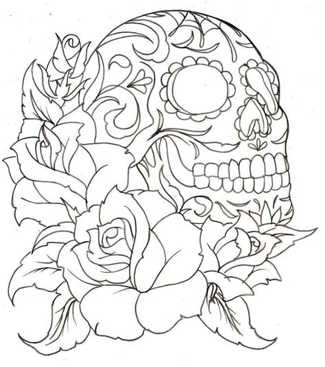 36 Best Images About Sugar Candy Skull Templates On Princess Skull Tattoos Free Coloring Sheets
