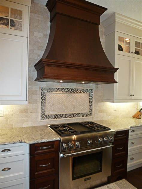 Range Hood Ideas Kitchen Excellent Oak Wood Cabinets Flanking Classic Copper Hood