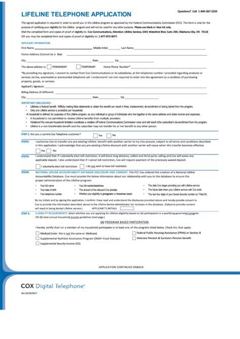 lifeline telephone application printable