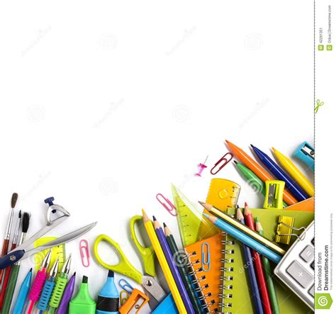 background design school school supplies on white background stock image image of