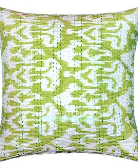Kain Tenun Ikat Blangket 16 16 quot x 16 quot parrot green decorative zig zag ikat throw pillow cover royalfurnish