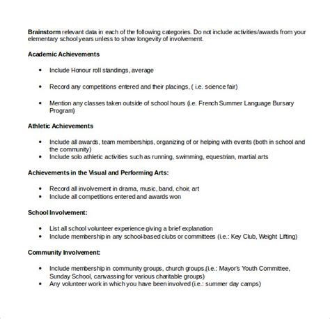 free resume templates scholarship outline resume sle college scholarship exle