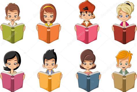 imagenes de niños leyendo y escribiendo crian 231 as de desenho animado a ler livros alunos vetores
