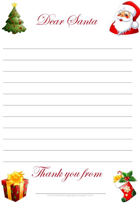 free printable letter to santa template cute christmas xmas coloring pages