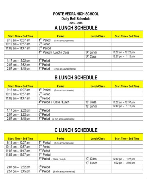 8 lunch schedule templates sle exles free