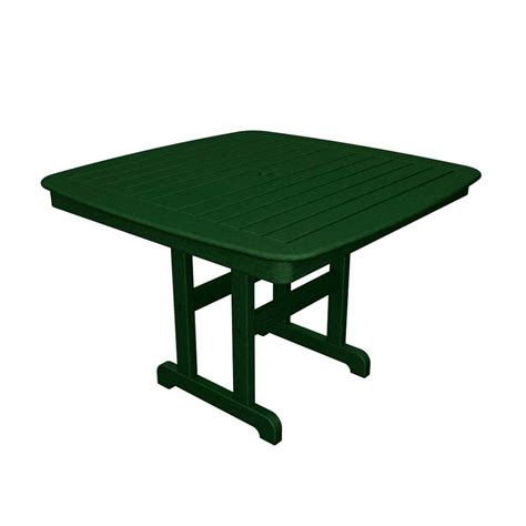 Patio Table Green Polywood Nautical 44 In Green Patio Dining Table Nct44gr
