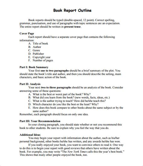 one page book report template report outline template 10 free free word pdf format