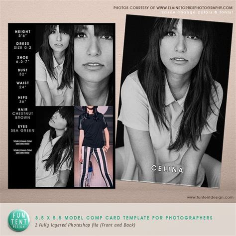 comp card template free model comp card 8 5x5 5 fashion profile template instant