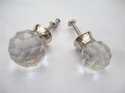 Glass Cabinet Door Handles Glass Faceted Chrome Cupboard Cabinet Drawer Door Knobs Pull Handles Ebay