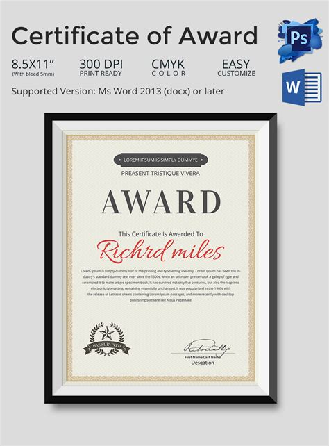 microsoft word certificate templates