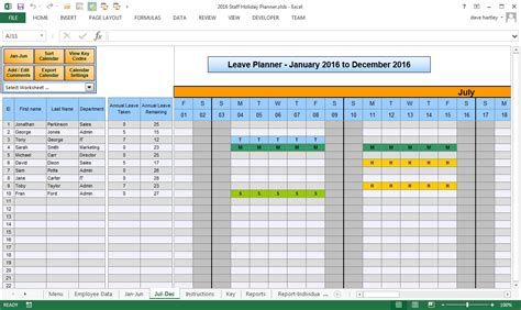 staff planner excel template annual leave planner template printable calendar