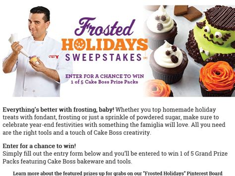 Baking Sweepstakes - cake boss baking 2015 frosted holidays sweepstakes