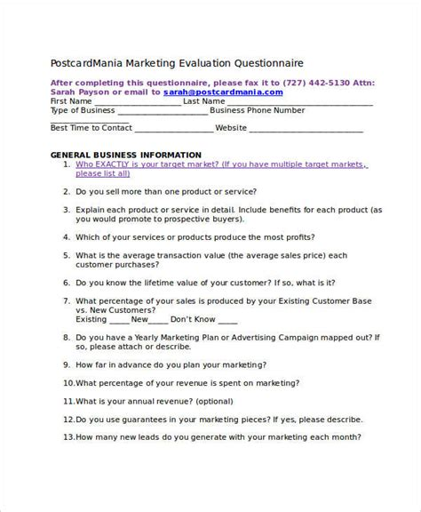 Questionnaires For Money - questionnaire for marketing commonpence co
