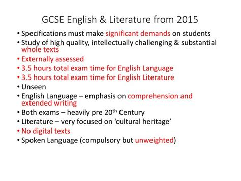 gcse english literature for ppt trinity year 8 expectation evening powerpoint presentation id 5080427