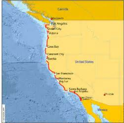 map of west coast of america and canada usa west coast route hobobiker randy and nancy s