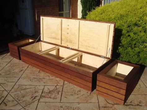Outdoor Storage Bench Waterproof Merbau Outdoor Storage Bench Seat Planter Boxes Screens Garden Ideas Outdoor