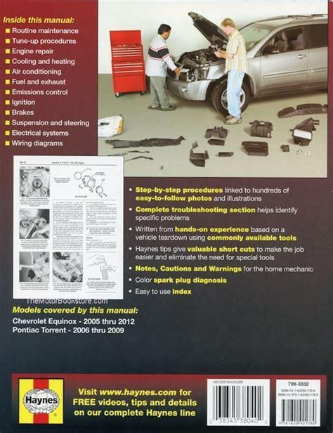 free online auto service manuals 2010 chevrolet equinox on board diagnostic system chevy equinox pontiac torrent repair manual 2005 2012 haynes