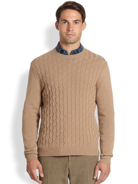 cable knit sweater mens slowear zanone wool cable knit sweater in for