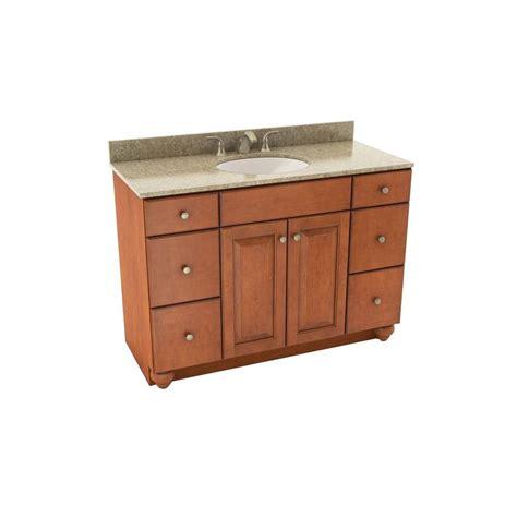Silestone Bathroom Vanity American Woodmark Charlottesville 49 In Vanity In Cognac With Silestone Quartz Vanity Top In