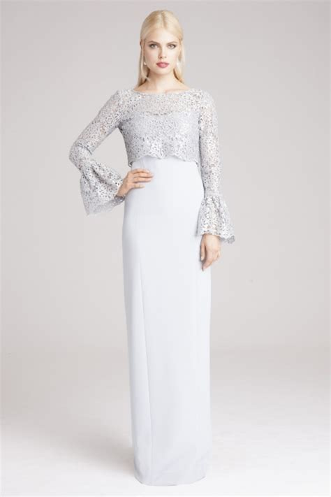Crepe & Lace Popover Gown with Bell Sleeves   Teri Jon