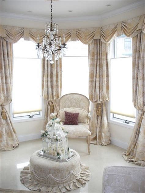 Fancy Living Room Curtains Drapery Panels A K A Bishop Sleeve Style With Swag Valances In Bay Window Drapery Styles