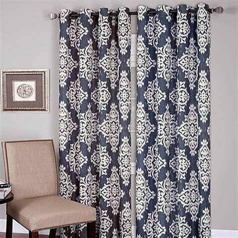 navy and grey curtains buy medina grommet 84 inch window curtain panel in grey
