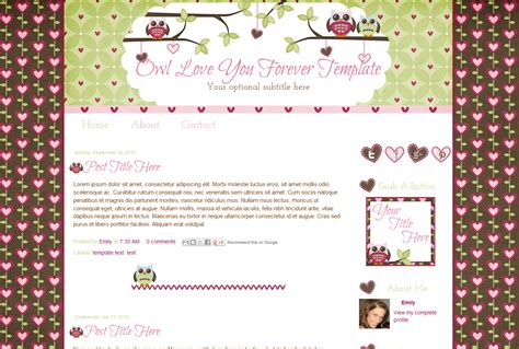 free blogging templates premade owl and hearts template