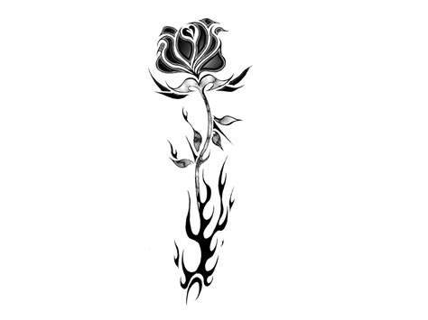 tribal black rose tattoo tribal flames design
