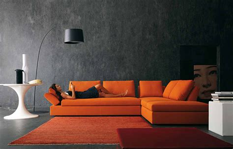 Orange Sofa Interior Design by Decorating Ideas Using Orange Sofa In Living Room Freshnist