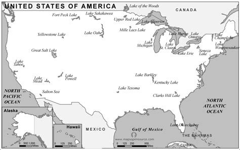 united states map with great lakes labeled free usa lakes map black and white lakes map of usa
