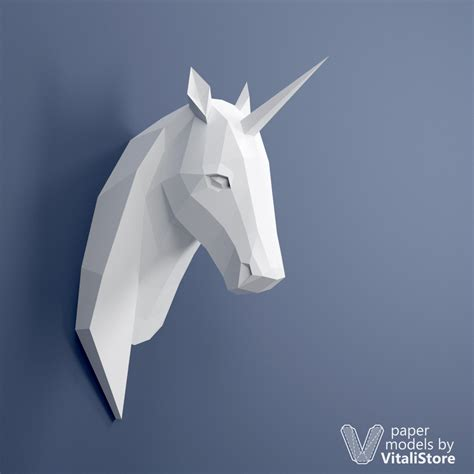 Unicorn Papercraft - unicorn papercraft 3d paper sculpture wall decor