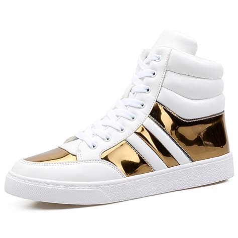 Topi Hiphop Branded Rockstar white gold high top hip hop shoes autumn winter fashion new brand pu leather casual shoes mens