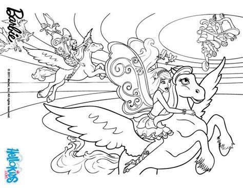 barbie s winged horse coloring pages hellokids com