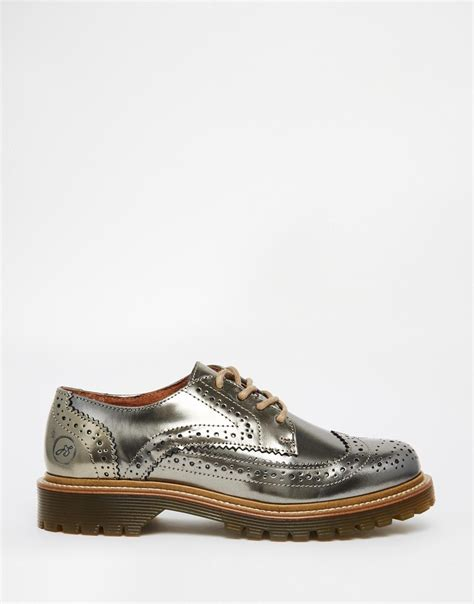 bronze flats shoes bronx bronze brogue flat shoes in metallic lyst