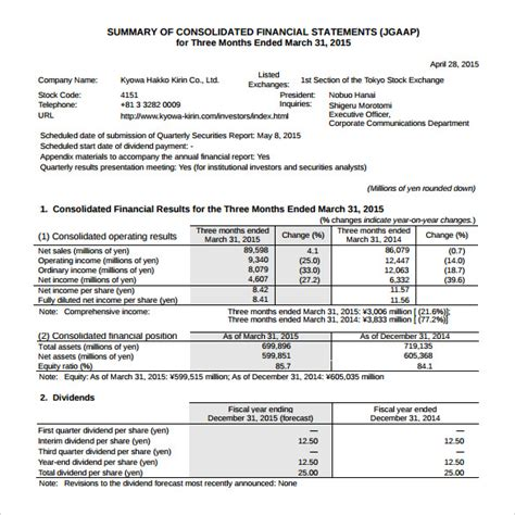 what template is this 7 financial summary sles exles templates sle