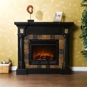 slate corner or flat black electric fireplace