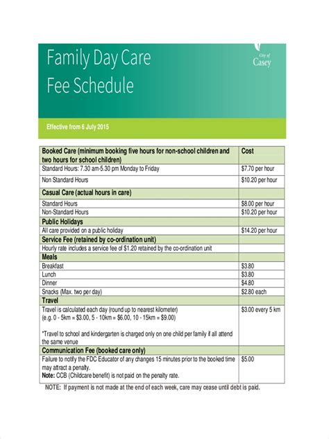 daycare schedule examples samples  google docs