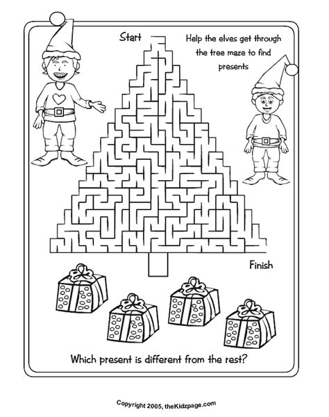 printable activity sheets for christmas christmas tree maze free coloring pages for kids
