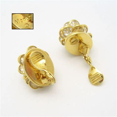 Monet Earring monet vintage clip earrings beautiful bezel set crystals