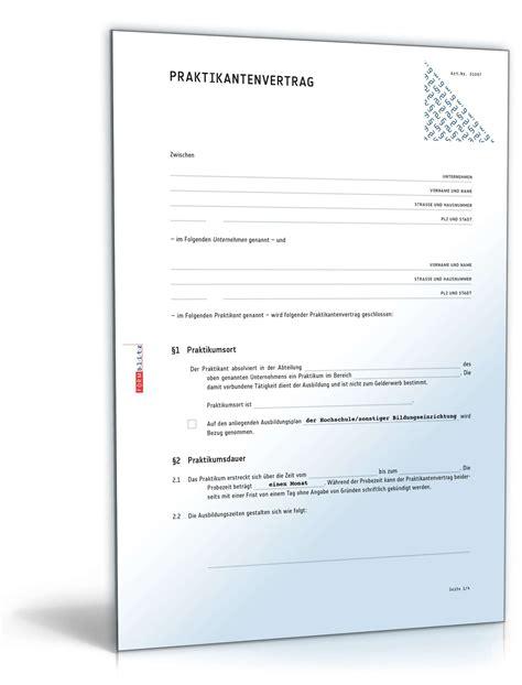 Praktikum Formular Muster praktikantenvertrag muster zum