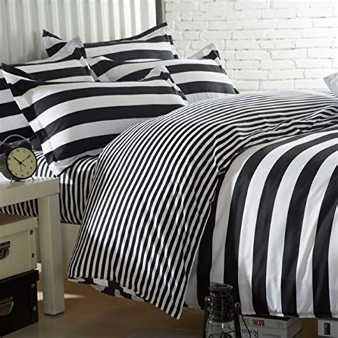 black white striped bedding ttmall twin full queen size cotton 4 pieces black white