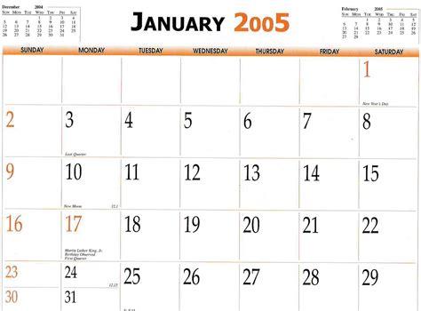 Calendar For 2005 2005 Calendar Free Printable