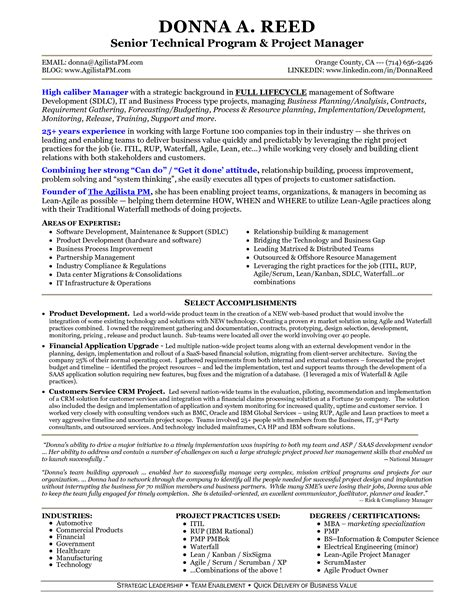 agile project manager resume doc 714982 information technology it and project manager