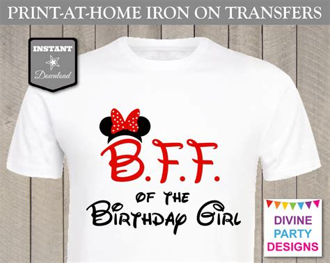 printable paper to iron on shirts red minnie mouse b f f best friend of the birthday girl